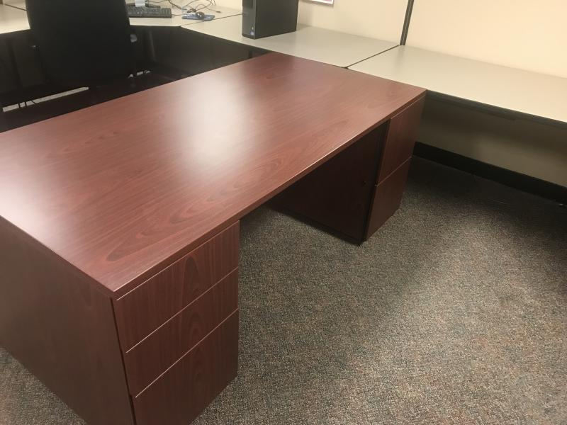 "Double Pedestal Laminate  Desk,71"" xx36"" Color Mahogany               ( Used)"