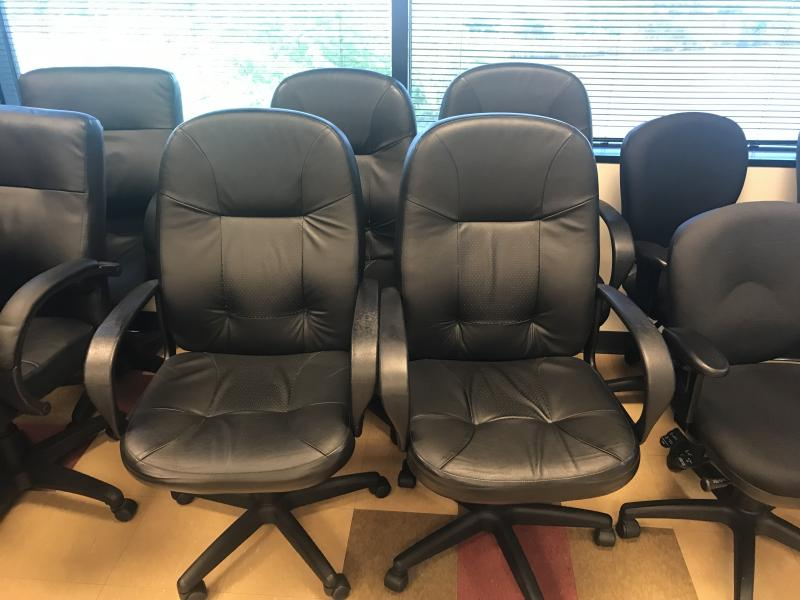 Black Leather Chairs  Used
