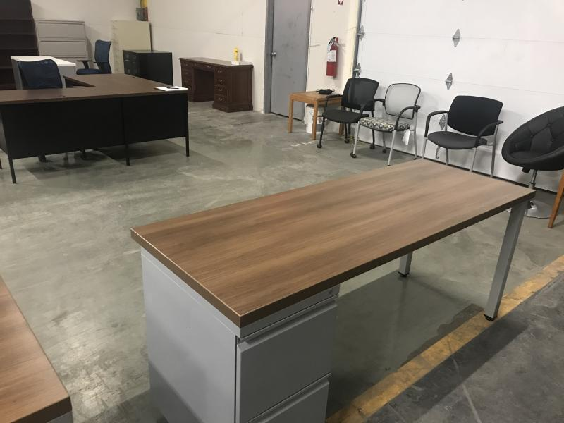 "Laminate Office Desk 71"" L x 24"" W  Walnut  Used"