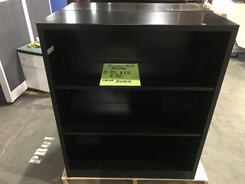 "Metal  Bookcase 35"" w x 13"" d x 4""H Black (Used)"