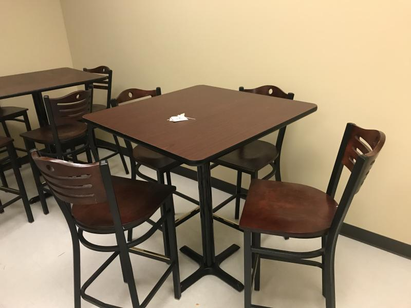 Breakroom Table Bar Height with Stools