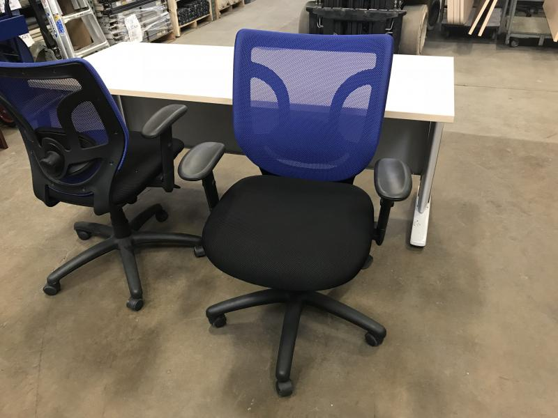 Mesh Back Task Chairs Blue/Violet With Black Seat and Frame