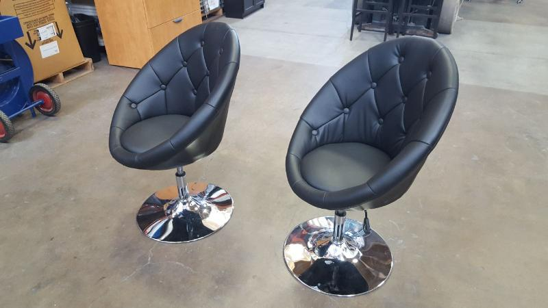 Black  Soft leather vinyl Guest Chairs  Black with Chromed Base