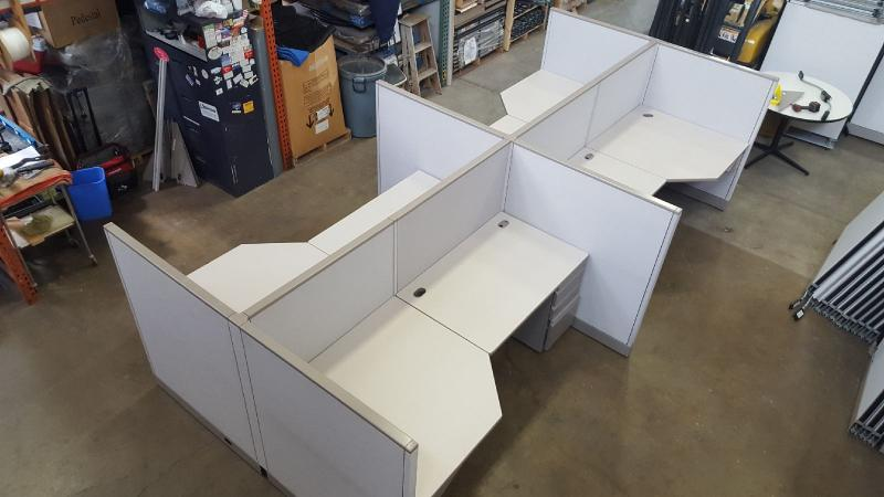 "Allsteel Office Cubicle   7'.6"" x 3'.6' x53"" H   Pre Owned"